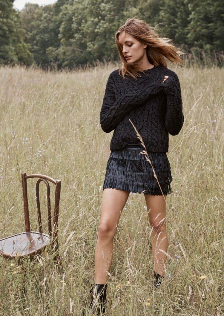 sweater leather fringe skirt