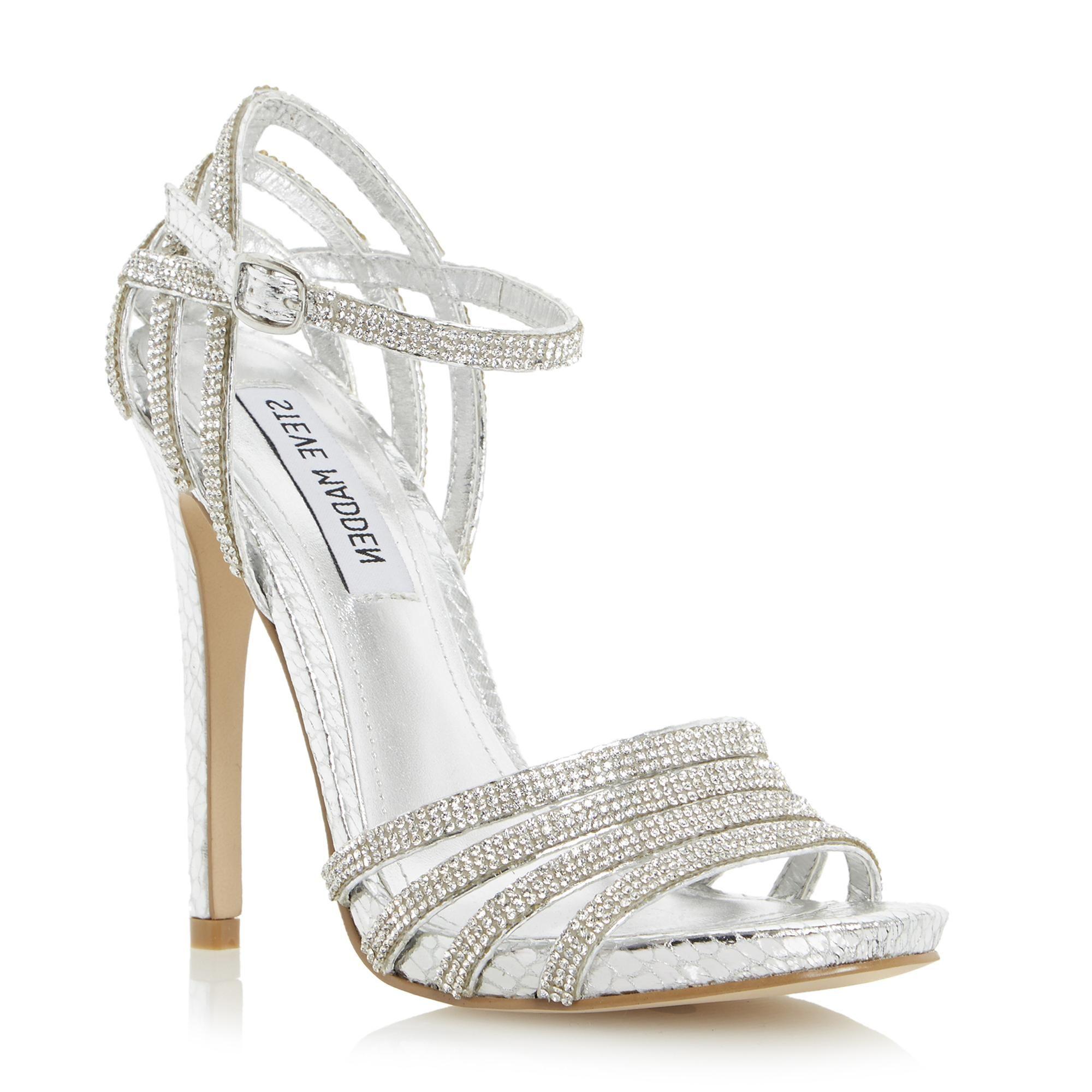 strappy heel sandals   glitter silver diamantes strappy