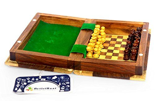 Artist Haat Travel Chess Set Magnetic Travel Wooden Chess Board With Magnetic Chess Coins Size 5x5 Inch M Chess Board Game Chess Board Wooden Chess Board