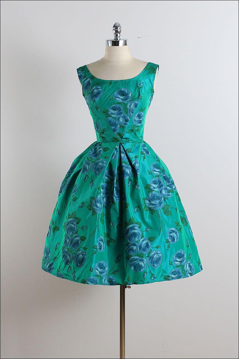 Vintage s dress vintage s dress blue rose party dress xs