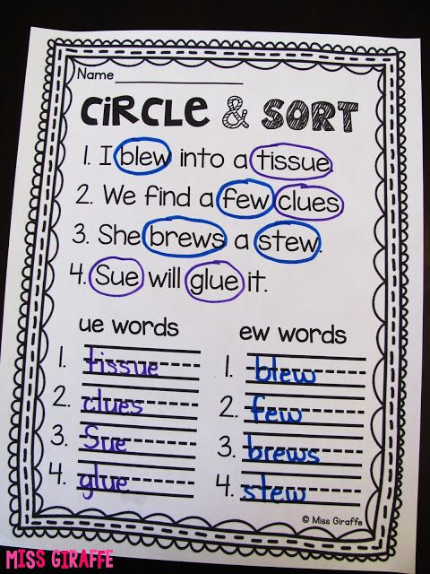 Circle and sort is a favorite phonics activity where you read the ...