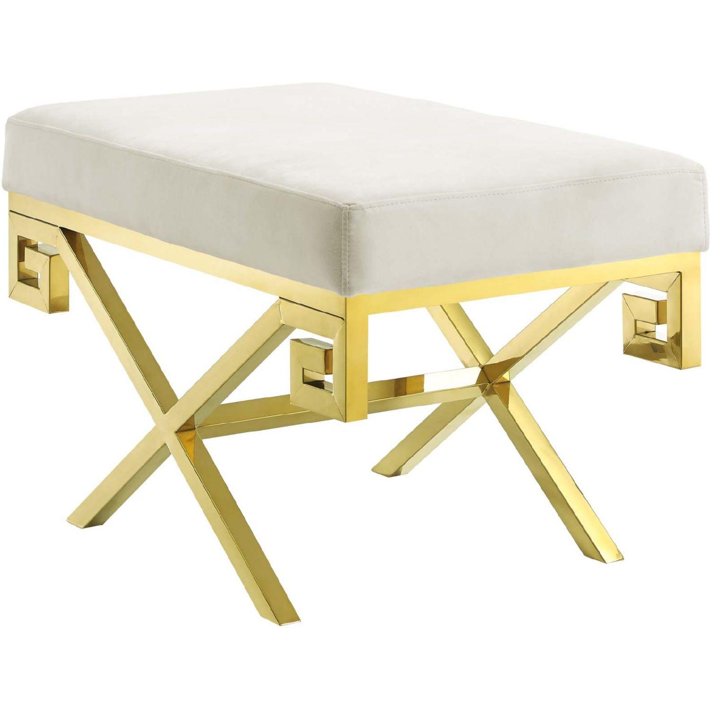 Phenomenal Modway Rove Bench Ivory Velvet Polished Gold Stainless Steel Creativecarmelina Interior Chair Design Creativecarmelinacom