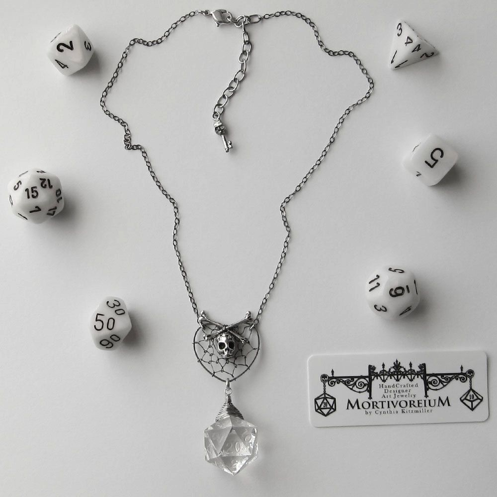 Web of Bone Lust: Dungeons and Dragons D20 Necklace, Wire Wrapped ...