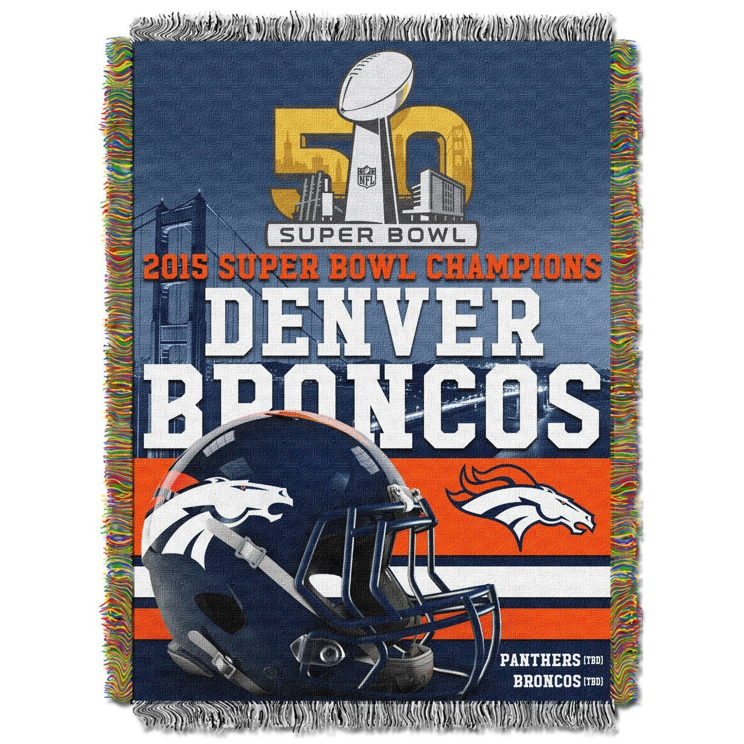 Denver Broncos NFL Super Bowl 50 Champions Woven Tapestry Throw (48x60)