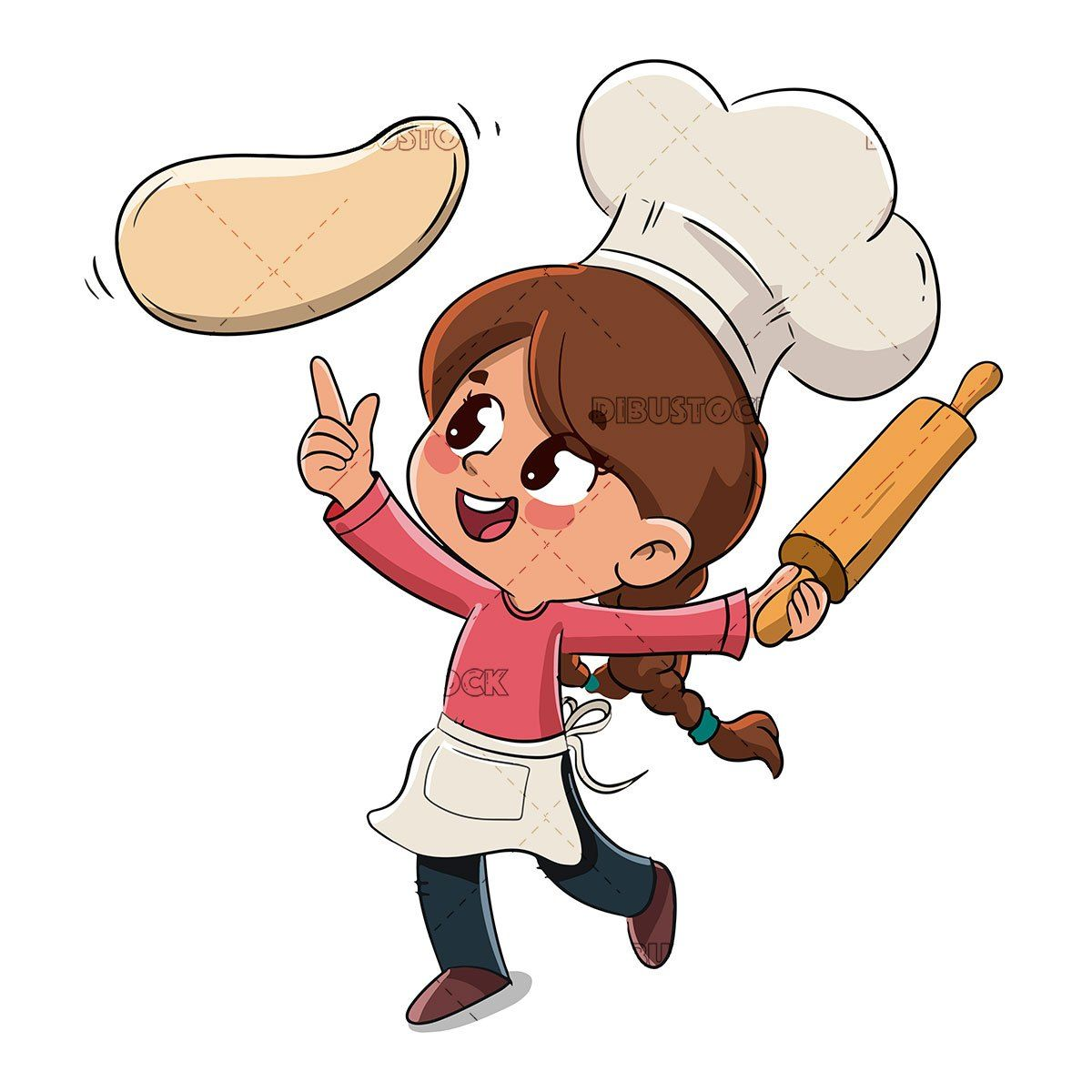Little Girl Making A Pizza Or Cooking Cartoon Chef How To Make Pizza Cartoon Drawings