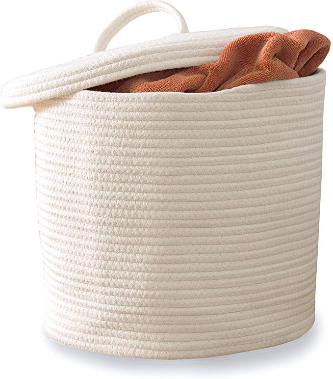 Amazon Com Cotton Rope Storage Basket Large Woven Baskets With Lid And Handles 15 X 13 For N Large Woven Basket Storage Baskets Storage Baskets With Lids #storage #basket #for #living #room