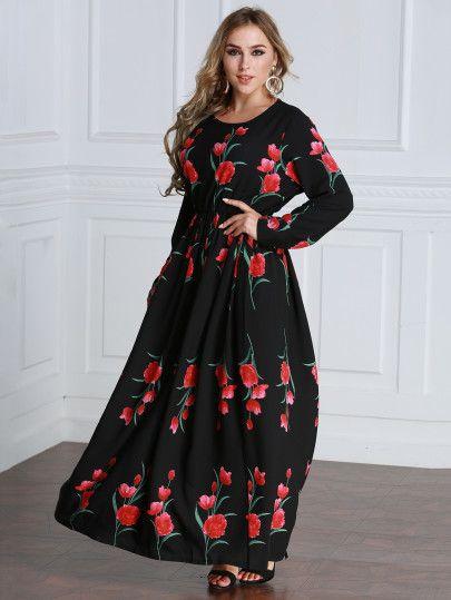 Floral Print Random Maxi Dress Plus Size Fashion For Women Ad