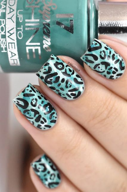 Green leopard nails inspired