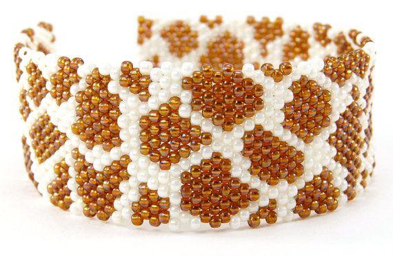 Giraffe Print Bracelet Beaded Jewelry Handmade by BeadedSeasons