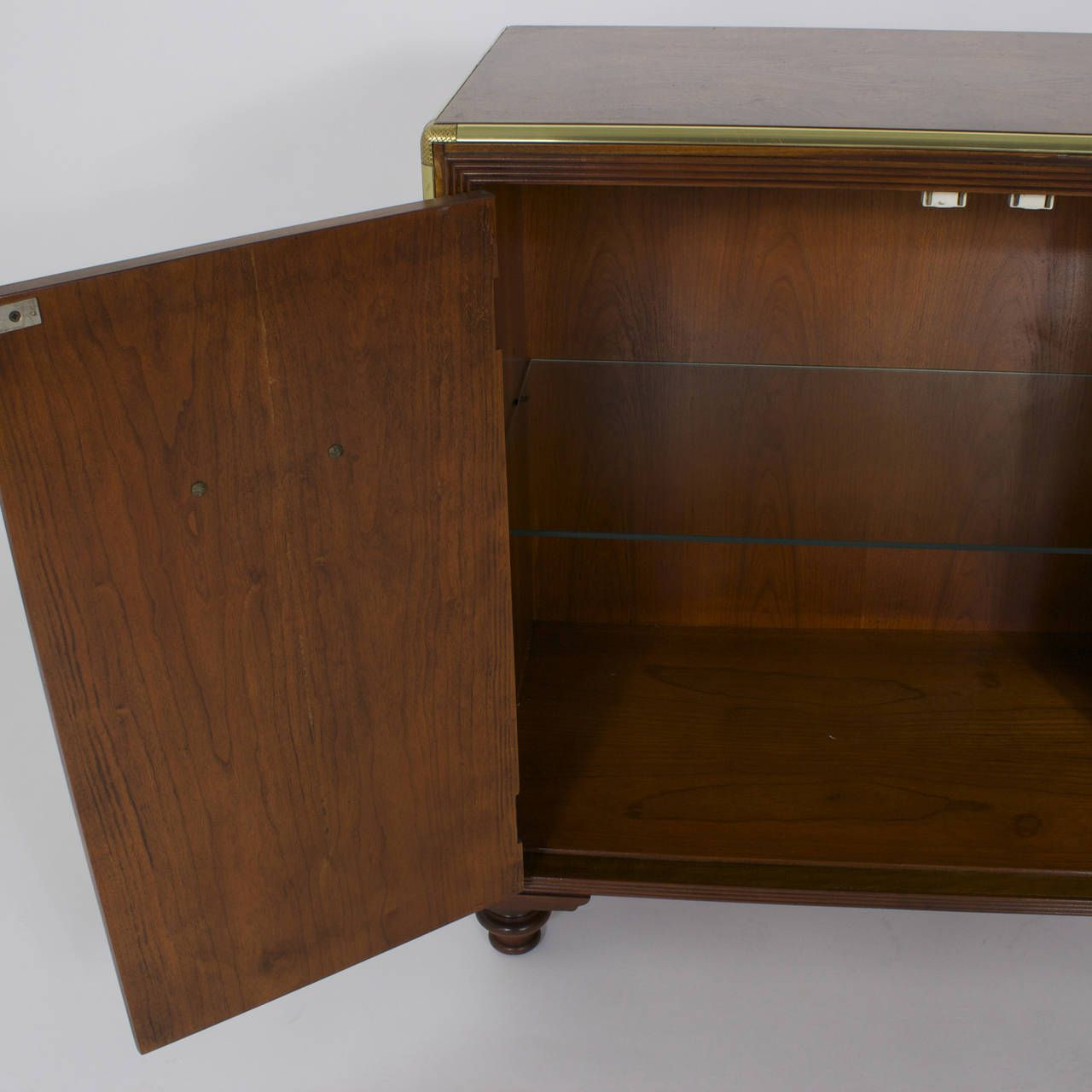 Pair of campaign style burl wood midcentury stands night stand