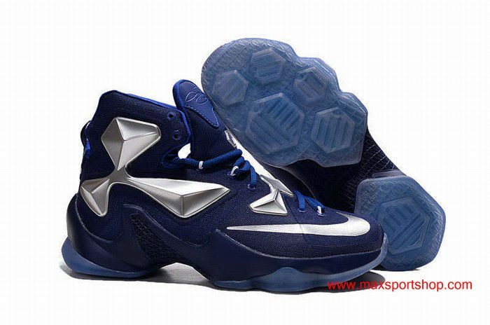 Nike LeBron 13 Dark-blue Silver Mens Basketball Shoes