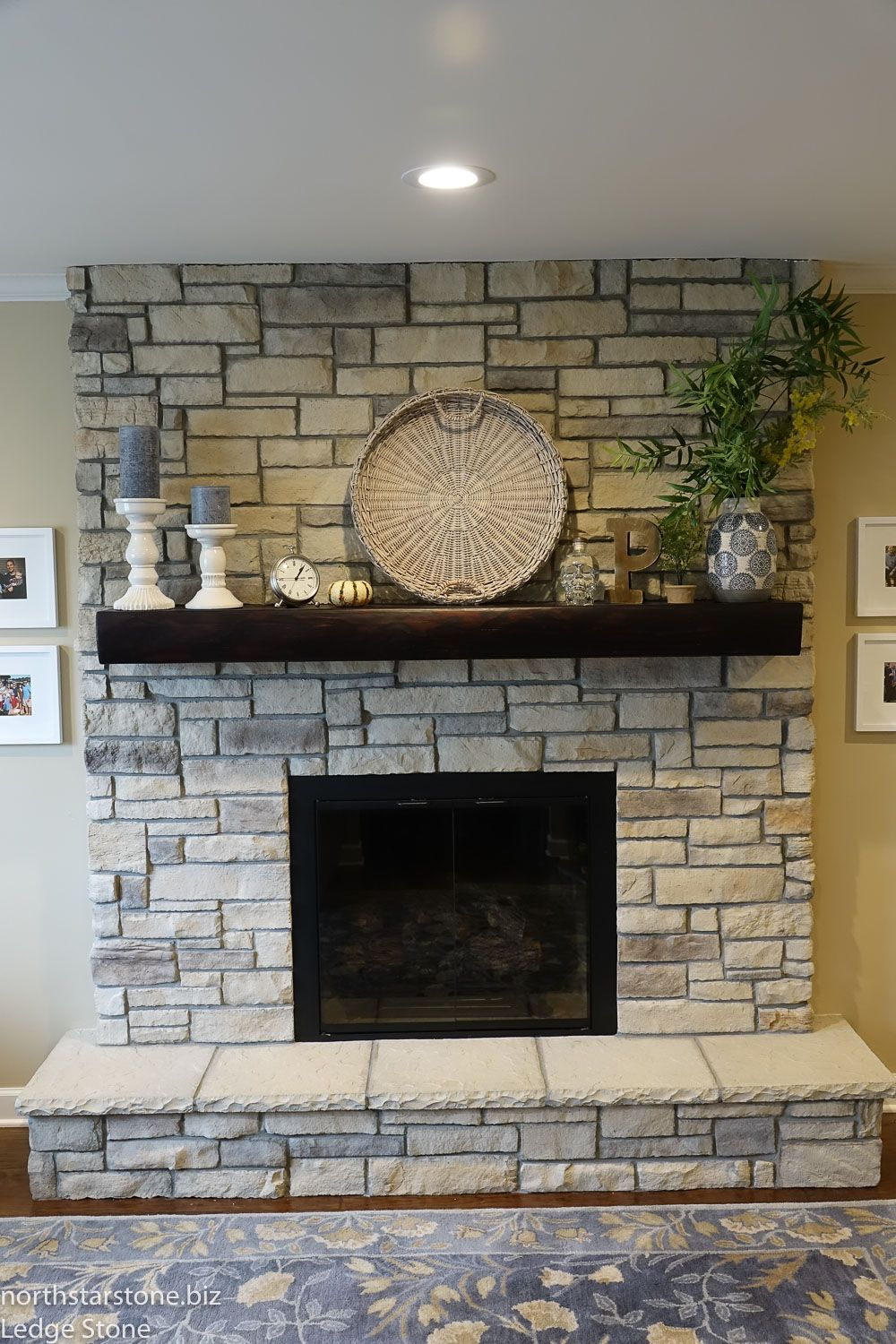 Ledge Stone Was Installed A Half Height Brick Fireplace We