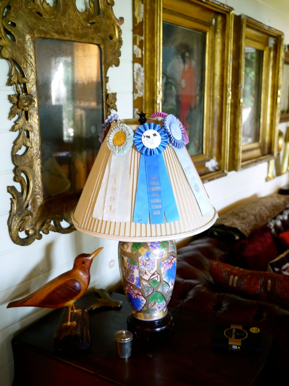 Home interior frames antique paintings in gold frames antique lamp vintage blue ribbons