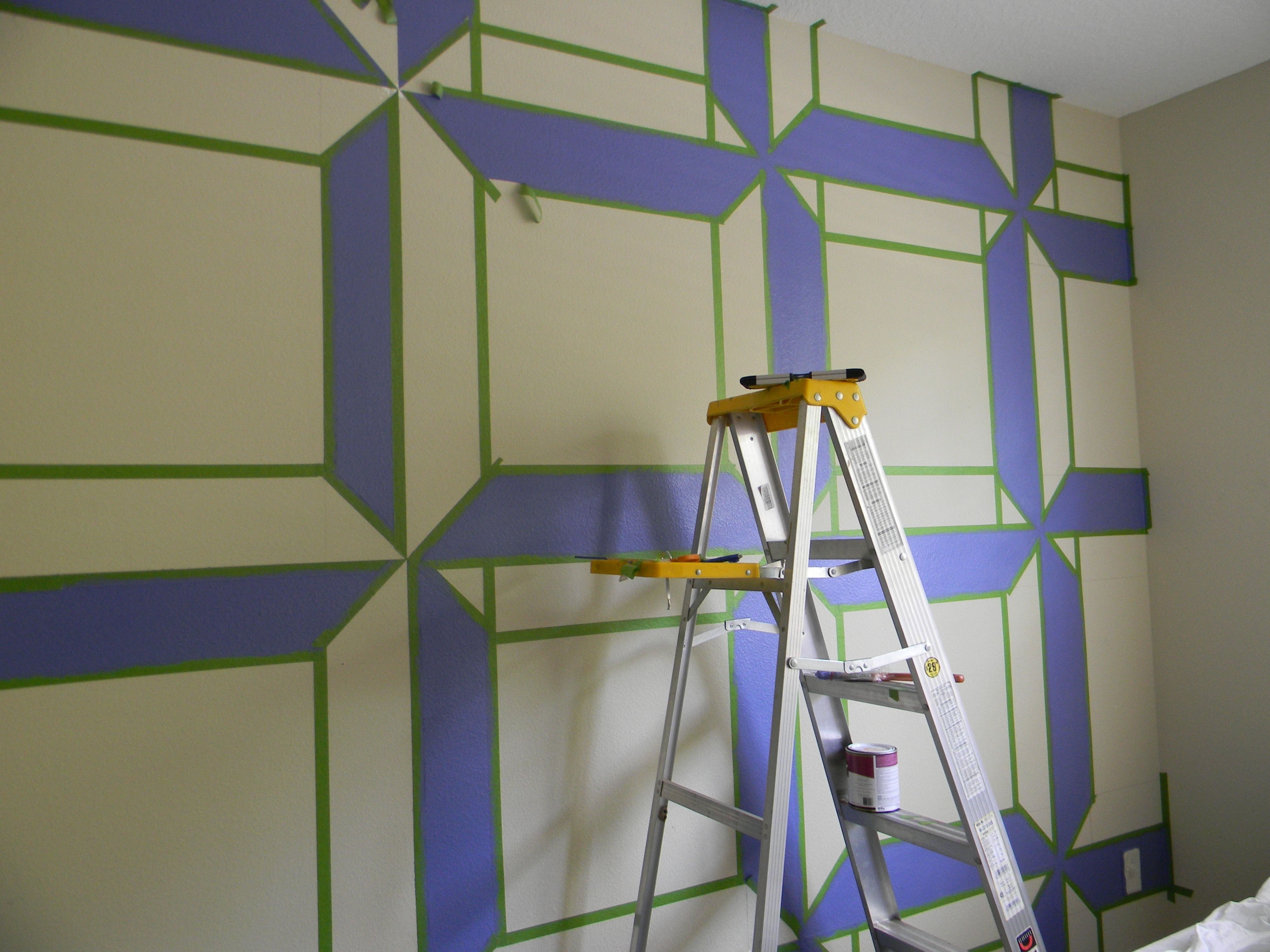 Before Use Frogger S Tape To Create The Geometric Pattern With Paint On The Wall Wall Design Painters Tape Design Wall Wall Design Painted