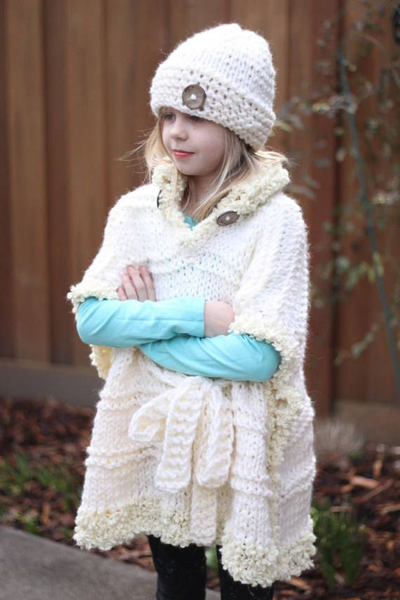 79ff98ab92de7 Bulky Knitted Oversized Poncho Girls by aStoryInKnitAndPurl ...