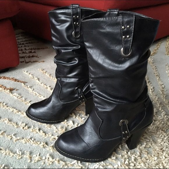 Black cowboy style boots Black patent leather with silver detail. Worn several times but in great shape. Shoes Heeled Boots