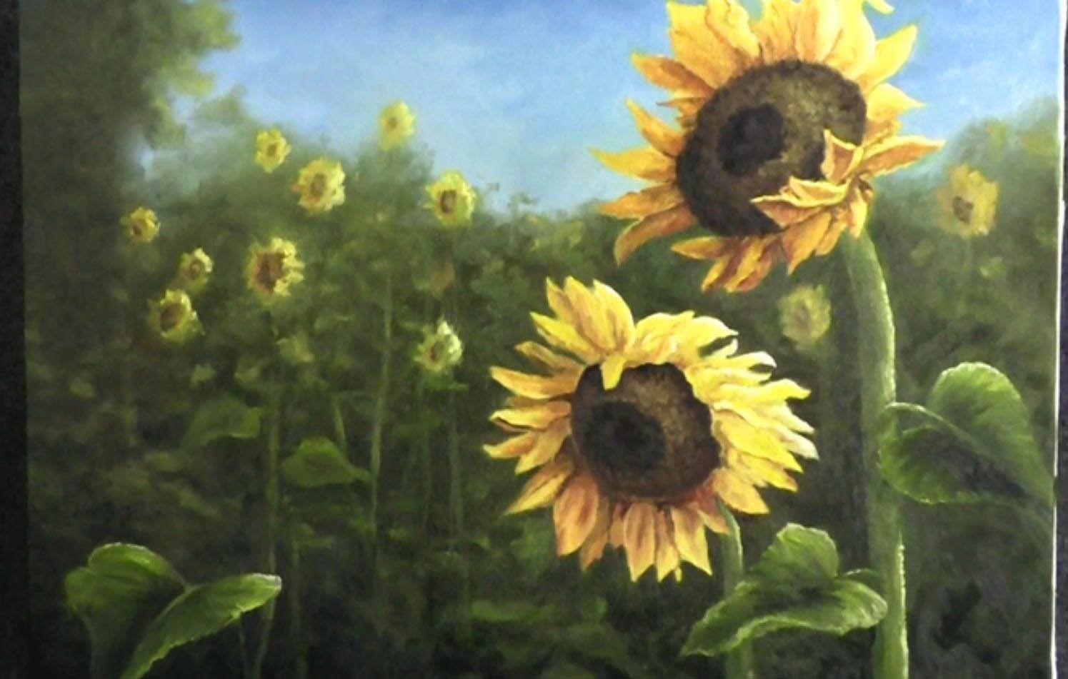 Paint With Kevin Hill Field Of Sunflowers Kevin Hill Paintings Flower Painting Kevin Hill