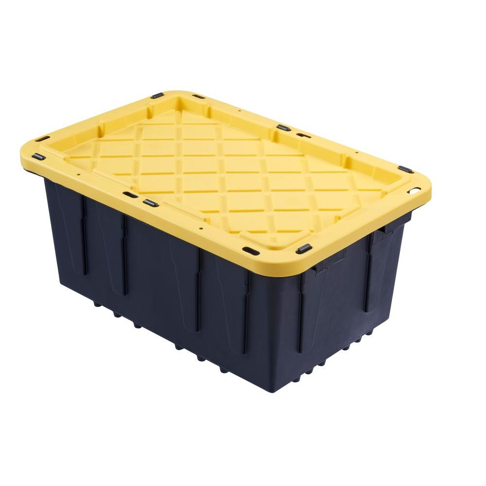 Hdx 12 Gal Tough Storage Tote In Black 206100 The Home Depot In 2020 Yellow Storage Storage Tote Storage
