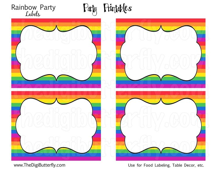 photograph relating to Free Printable Food Labels for Party identify Absolutely free Printable Rainbow Labels Due for coming toward my 80th