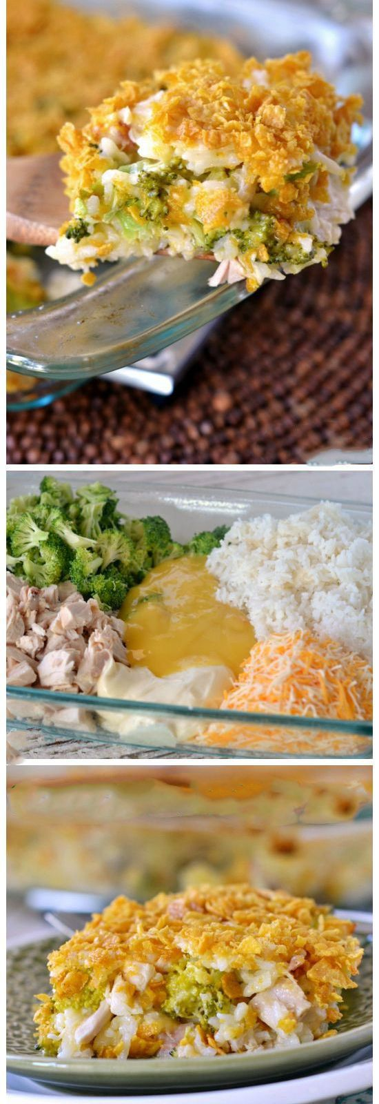 Cheesy Chicken Broccoli and Rice Casserole