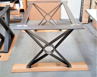 Set of 2 Modern Bench X Legs Model BX02B Heavy Duty industrial Metal tubing Legs 16 H x 12 W  metal art  Metal dining table Modern dining