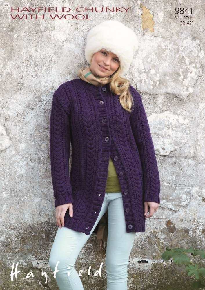 Women\'s Cable Long-line Cardigan in Hayfield Chunky with Wool ...