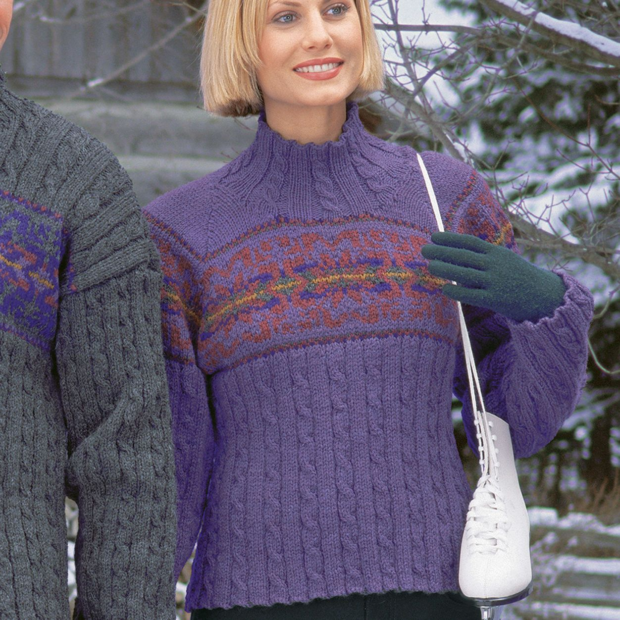Patons Ladies Cable & Snowflake, S | Sweater knitting ...
