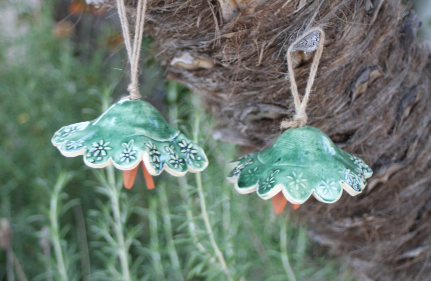 Green Bells Wind Chime set of 2 ceramic bell handmade garden art