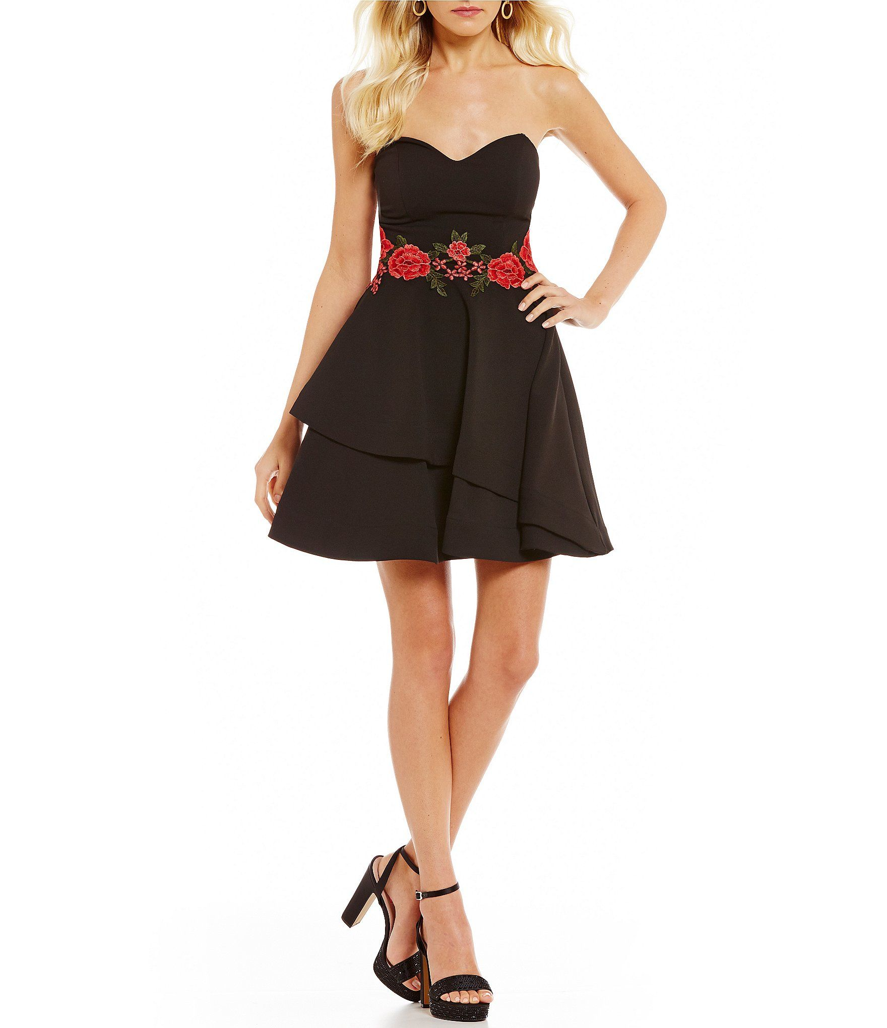 B darlin strapless floral embroidered waist fitandflare dress
