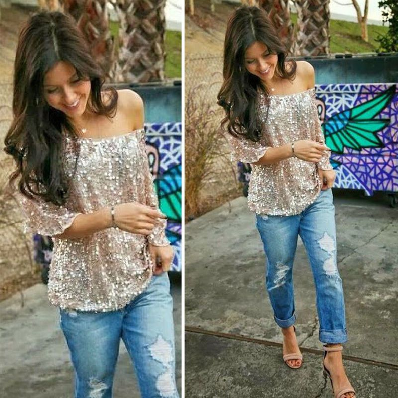 Womens Sequined Bling Shiny Tank Top Casual Loose Shirt Off The