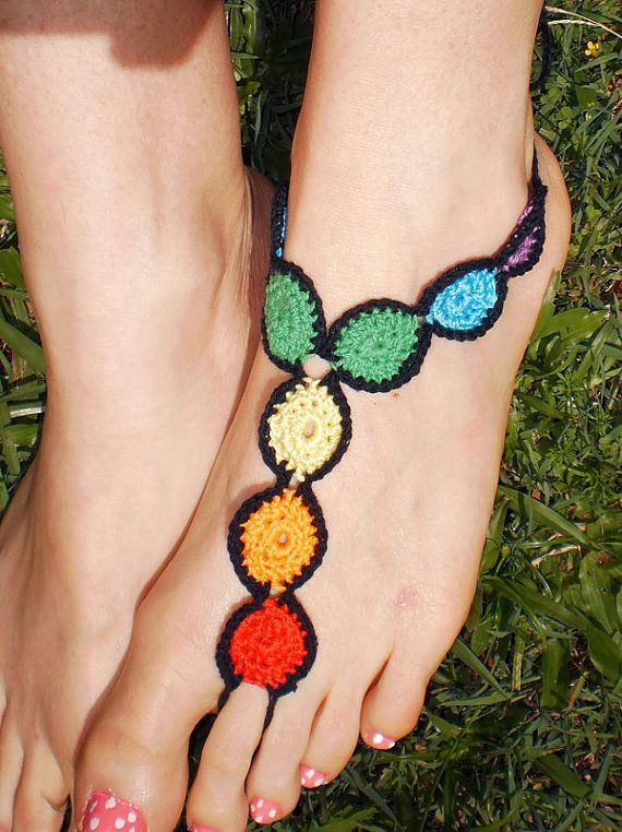 CHAKRA FEET Original design Hand Crochet Barefoot by unferalhippie, $27.87