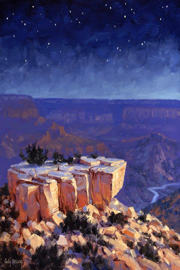 Landscape Painting Night Sky