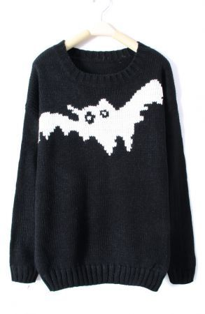 7427b3e991e Black cozy pull over sweater with white bat detail