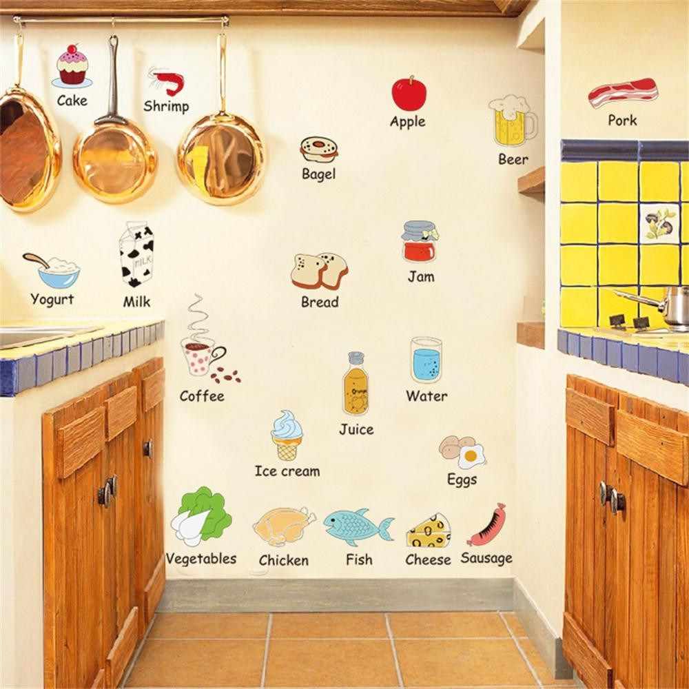 food removable happy kitchen wall decal vinyl home decor wall ...