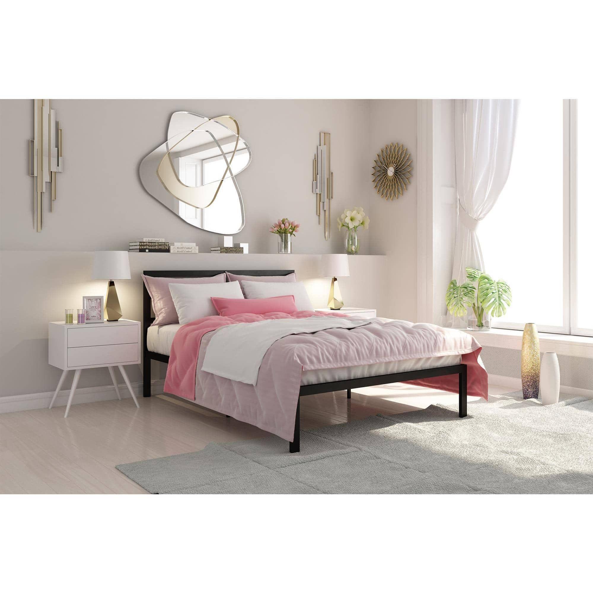 Signature Sleep Premium Modern Platform Bed With Headboard, Metal, Gold,