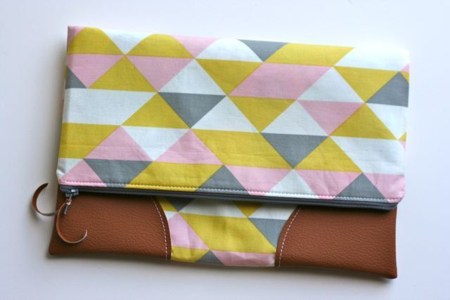 Leather Trimmed Fold Over Clutch. $36.00, via Etsy.