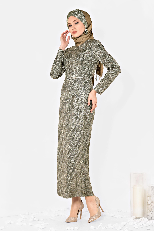 Simli Kemerli Kadin Tesettur Elbise Alvina Elbise Elbise Modelleri The Dress
