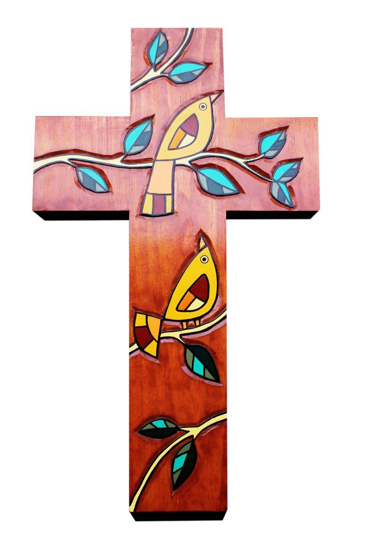 Amazon Com Wooden Cross Wall Decor Two Birds Handmade 20