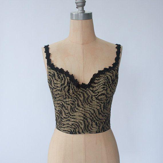 14bf7e35ac9 vintage black and gold bralette   80s black bra top   crop top   cropped