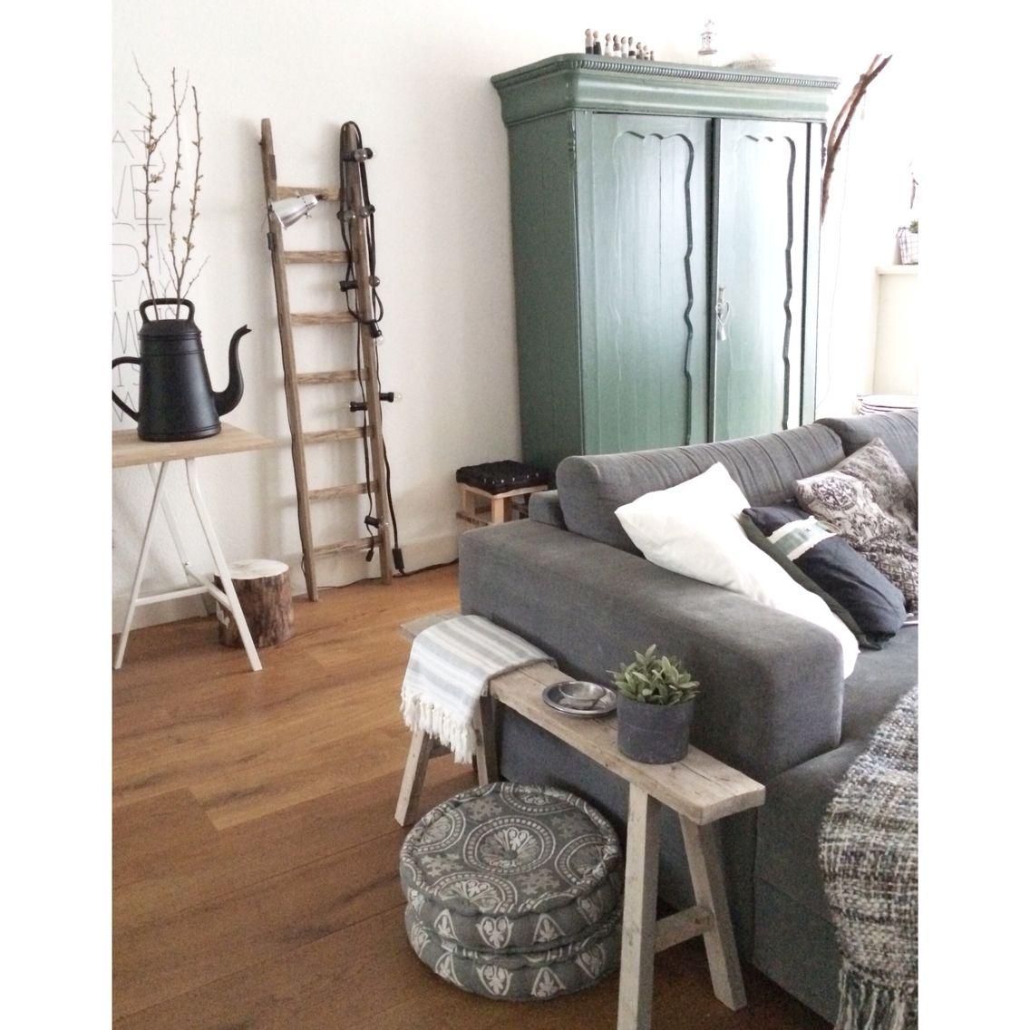 Livingroom Groene Kast Brocante At Manon0903 Woonkamer