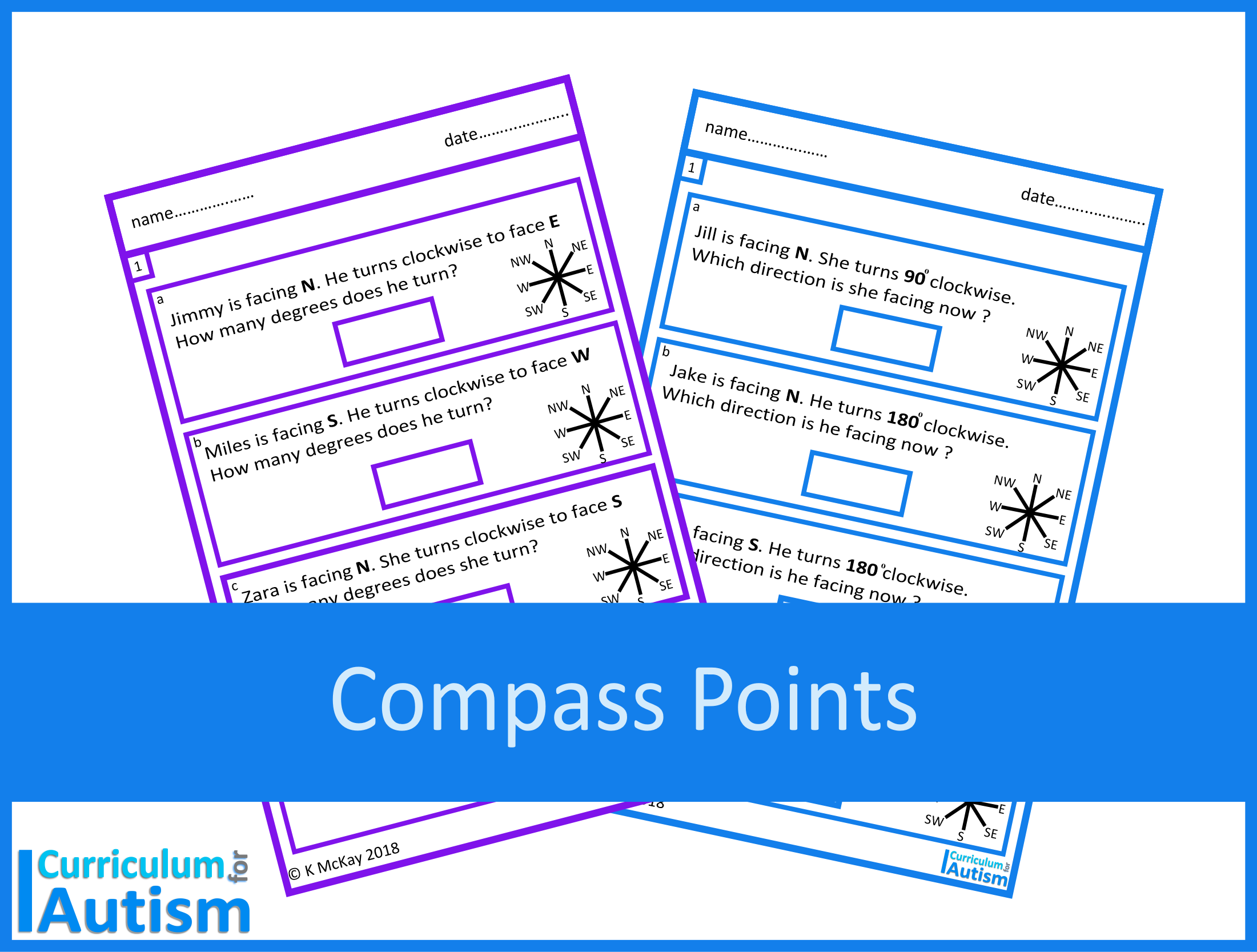 Compass Points And Angles Worksheets Digital Download