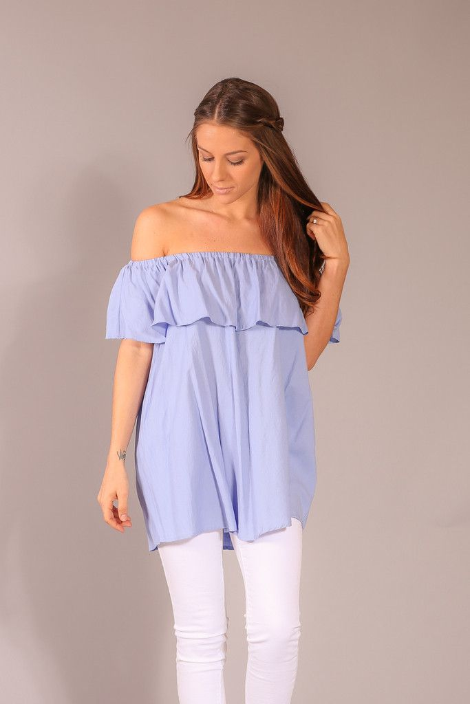 Off the Shoulder Ruffle Tunic - Chambray
