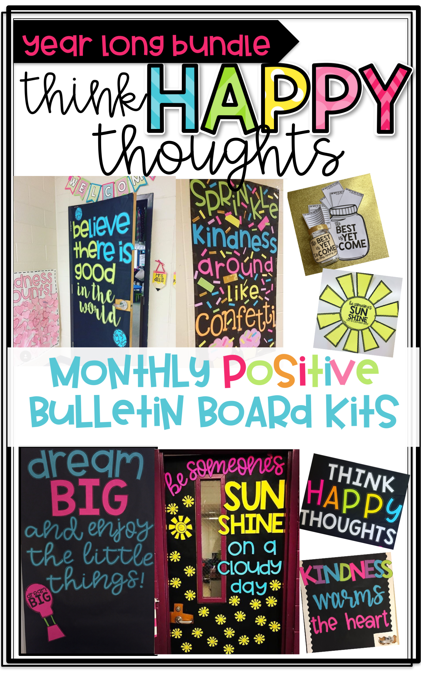 Think happy thoughts the year long growing bundle bulletin monthly positive bulletin board kits for bulletin boards and door decor letter templates writing spiritdancerdesigns Images