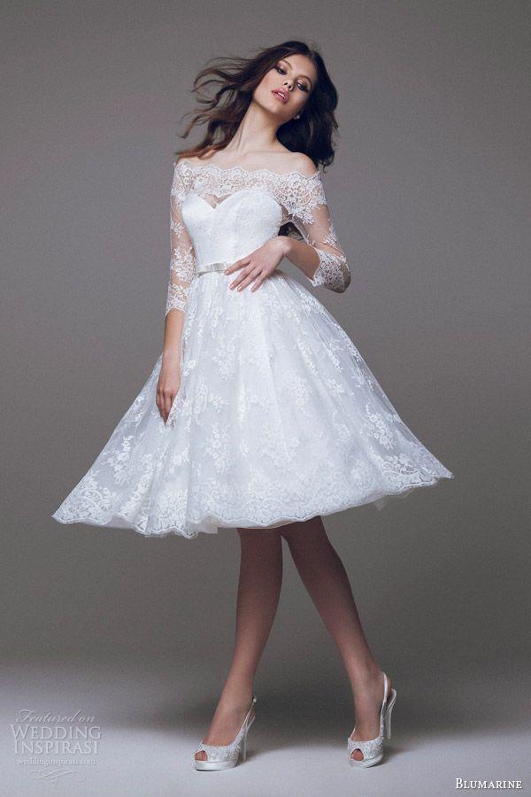 Blumarine Bridal 2017 Short Wedding Dress Off The Shoulder Lace Sleeves