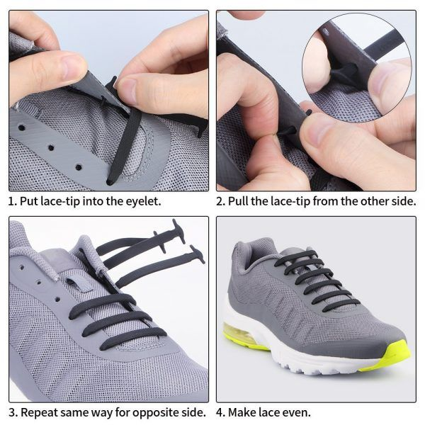 Elastic Shoe Laces No Tie Silicone Shoelaces For Adults /& Kids Trainers Shoes