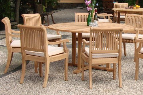 7 Pc Grade A Teak Wood Round Table Dining Set Teak Patio