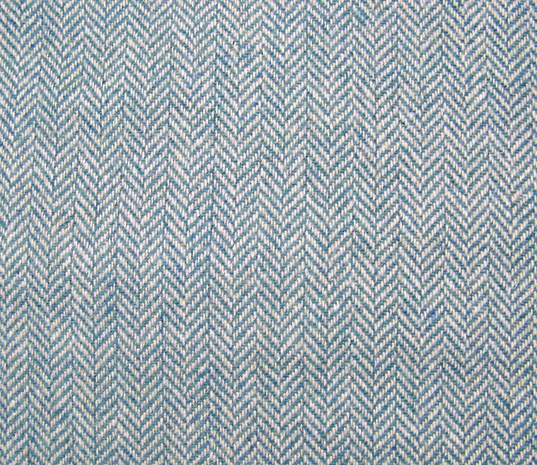 Blue White Herringbone Wool Blend Fabric 1/2 yd | Living Room ...