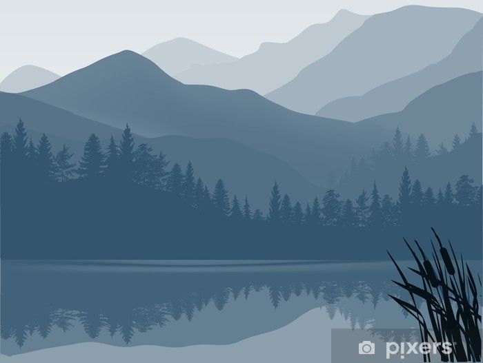 Blue And Grey Lake In Mountain Forest Wall Mural Pixers We Live To Change Mountain Mural Forest Wall Mural Mountain Wall Painting