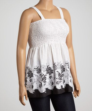 b266648e447 Another great find on  zulily! White   Black Floral Shirred Babydoll Top -  Plus  zulilyfinds
