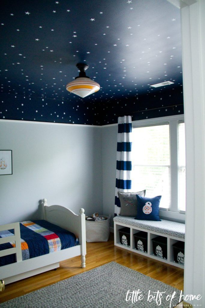 good Boys Room Decoration Ideas Part - 2: Curtains For Boys Bedroom, Boys Star Bedroom, Boys Bedroom Paint, Blue  Ceiling Bedroom